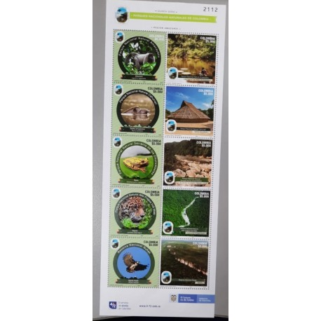 A) 2020, COLOMBIA, V SERIE, FLORA AND FAUNA, MNH, NATIONAL NATURAL PARKS, BLOCK OF 10