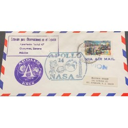 A) 1970, MEXICO, FROM GUAYMAS TO NEW JERSEY, AERIAL, APOLO 14, NASA, TURISTIC STAMP