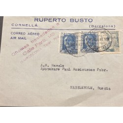 A) 1947, SPAIN, FROM CORNELLA-BARCELONA TO HASSLEHOLM-SWEDEN, AERIAL, GENERAL FRANCO AND SHIELD OF SPAIN STAMP