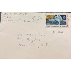 A) 1970, UNITED STATES, FROM WASHINGTON TO MEXICO CITY D.F, AIRMAIL, FIRST MAN ON THE MOON STAMP