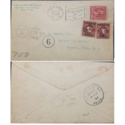 A) 1899, UNITED STATES, POSTAGE DUE, INCOMINGCVER FROM NEW YORK TO HAVANA, WITH US 2C UNDERPAID WITH TWO-CIRCLE