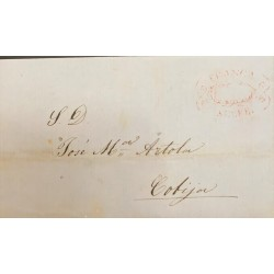 A) 1856, BOLIVIA, PRESTAMP, ENTIRE LETTER TO COBIJA, WITH FRANCY RED FRANCA SUCRE, DATED JAN 13 1856