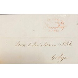A) 1856, BOLIVIA, PRESTAMP, ENTIRE LETTER TO COBIJA, CANCELED BY RED OVAL, FRANCA SUCRE, DATED OCT 3 1856