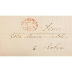 A) 1854, BOLIVIA, PRESTAMP, ENTIRE LETTER TO COBIJA, WITH FANCY RED, COCHABAMBA FRANCA, OVAL