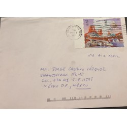 A) 1998, UNITED STATES, AIR FORCE, TO MEXICO D.F, CANCEL, AERIAL, SPACE DISCOVERIES CITY OF SPACE AND SHIP STAMPS