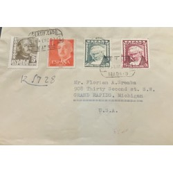 A) 1957, SPAIN, FROM MADRID TO MICHIGAN-UNITED STATES, CERTIFICATED, GENERAL FRANCO STAMP