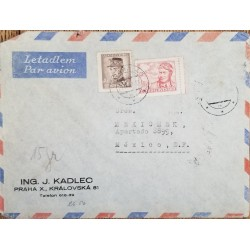 J) 1936 CZECHOSLOVAKIA, GENERAL MILAN STEFANIK, MULTIPLE STAMPS, AIRMAIL, CIRCULATED COVER, FROM CZECHOSLOVAKIA TO MEXICO