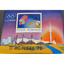A) 1972, RUMANIA, OLYMPIC GAMES, AERIAL, SOUVENIR SHEET, IMPERFORATED, MUNICH-GERMANY