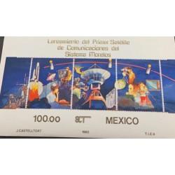 A) 1985, MEXICO, SATELLITE LAUNCH SOUVENIR SHEET OF 3 STAMPS, MNH, MORELOS TELECOMMUNICATIONS