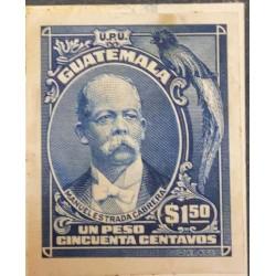 A) 1918, GUATEMALA, QUETZAL, PRESIDENT MANUEL ESTRADA CABRERA, DIE PROOF, DARK BLUE
