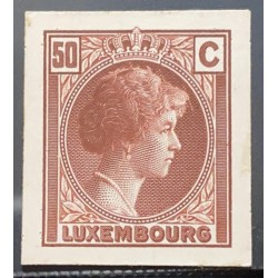 J) 1935 LUXEMBOURG, GRAND DUCHESS CHARLOTTE, 50 CENTS BROWN, MN