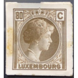 J) 1935 LUXEMBOURG, GRAND DUCHESS CHARLOTTE, 80 CENTS BROWN, MN