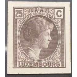 J) 1935 LUXEMBOURG, GRAND DUCHESS CHARLOTTE, 25 CENTS BROWN, MN