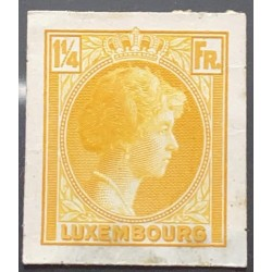 J) 1935 LUXEMBOURG, GRAND DUCHESS CHARLOTTE, 1 1/4 FR YELLOW, MN