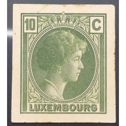 J) 1935 LUXEMBOURG, GRAND DUCHESS CHARLOTTE, 10 CENTS GREEN, MN