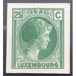 J) 1935 LUXEMBOURG, GRAND DUCHESS CHARLOTTE, 25 CENTS GREEN, MN