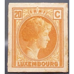 J) 1935 LUXEMBOURG, GRAND DUCHESS CHARLOTTE, 20 CENTS ORANGE, MN