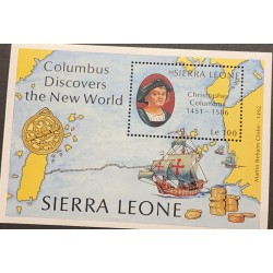 A) 1993, SIERRA LEONE, COLUMBUS DISCOVERES THE NEW WORLD, MNH, PERFORATE, MULTICOLORED