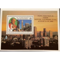 A) 1993, ST, VICENT AND THE GRENADINES, MNH, POPE JOHN PAUL II, VISITS DENVER COLORADO-UNITED STATES