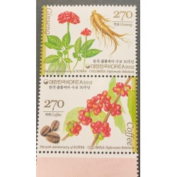 A) 2012, KOREA COLOMBIA, PLANTS, COFFEE AND GINSENG, JOINT ISSUE, DIPLOMATIC RELATIONS, MNH