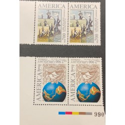 A) 1992, URUGUAY, DISCOVERY OF AMERICA BY COLUMBUS, UPAEP, BLOCK OF 2, MNH