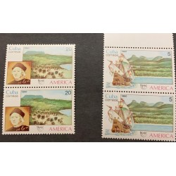 A) 1990, SPANISH ANTILLES, UPAEP, BOAT AND COLON, MNH, THE NATURAL WORLD, AMERICA, MULTICOLORED