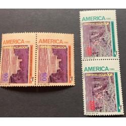 A) 1990, ECUADOR, AMERICA UPAEP, DISCOVERIES, 2 PAIRS, INCA FORTRESS OF INGAPIRCA AND TOWN AWA, MNH