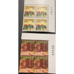 A) 1978, COLOMBIA, COFFE, AIRMAIL, FLOWERED MATA AND GRAINS, THE LOST CITY TAIRONA CULTURE
