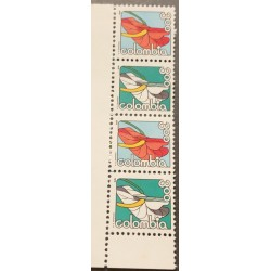 A) 1979, COLOMBIA, FLAMENCO PLANT, STRIP OF 4, MNH