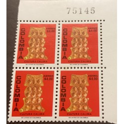 A) 1978, COLOMBIA, GOLDEN ORNAMENT, CALIMA CULTURE, MNH, PECTORAL THE OWL, BLOCK OF 4