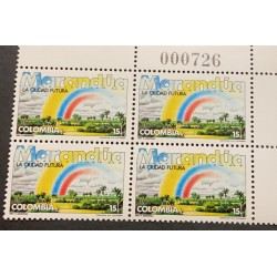 A) 1984, COLOMBIA, MARANDUA THE CITY OF THE FUTURE, ALLEGORY HANS ANDEREGG, MNH, BLOCK OF 4
