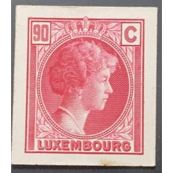 J) 1935 LUXEMBOURG, GRAND DUCHESS CHARLOTTE, 90 CENTS RED, MN