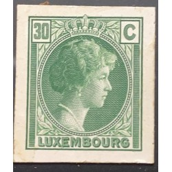 J) 1935 LUXEMBOURG, GRAND DUCHESS CHARLOTTE, 30 CENTS GREEN, MN
