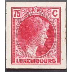 J) 1935 LUXEMBOURG, GRAND DUCHESS CHARLOTTE, 75 CENTS PINK, MN