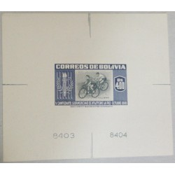 J) 1951 BOLIVIA, SPORTS 4B REGULAR VALUE CICLYNG DIE PROOF WITH SEPERATE FRAME AND VIGNETTE NOS (78X67). UNIQUE (BO/1985/S)