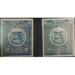 J) 1906 PANAMA, AMERICAN BANK NOTE, EAGLE, SHIELD, IMPERFORATED, PAIR, ABN DIE PROOFS CARDBOARD, XF