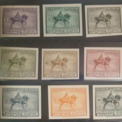 J) 1951 VENEZUELA, BOLIVAR STATUTE, NEW YORK, INVERTED CENTER, AMERICAN BANK NOTE, DIE PROOF, SET OF 9, XF