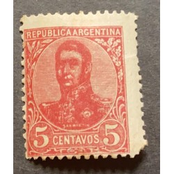 A) 1908, ARGENTINA, GENERAL JOSE DE SAN MARTIN, SHIFTED, 5C, DATA ISSUED OF FEB 29 1908, DARK PINK