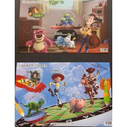 A) 2012, CHINA, TOY STORY, SELF ADHESIVE STAMPS, DESIGN WALT DISNEY COMPANY, TAIWAN