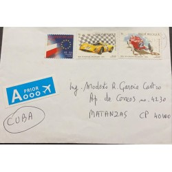 A) 1996, BELGIUM, CAR RACES, ENVELOPE SENT TO MATANZA, AERIAL MULTICOLORED STAMPS