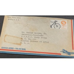 A) 1976, MEXICO, BICYCLE, FROM MEXICO TO NEW YORK, USED, AIRMAIL