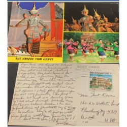 A) 1985, SINGAPORE, BICYCLE, TOURISM, CANCELATION, ENVELOPE SENT TO UNITED STATES, FRONT WITH PHOTOGRAPH OF DANZA THAILANDESA
