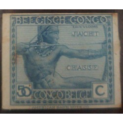 A) 1923, BELGIAN CONGO, LOCAL ASPECTS, ARCHER, 50C, HEAVY MOUNTED MINT, BLUE, AMERICAN BANKNOTE, VLOORS
