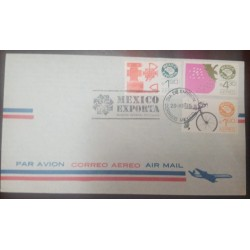 A) 1975, MEXICO EXPORTA, OIL VALVES, STRAWBERRY AND BICYCLE, FDC, AIRMAIL, COVER OR ENVELOPED
