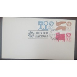 A) 1975, MEXICO EXPORTA, COVER OR ENVELOPED, 50C, 3C AND 80C, FDC, AUTO PARTS, SHOES AND CATTLE AND MEAT, CANCELATION