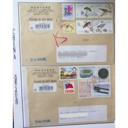 A) 1999, REPUBLIC OF CHINA, BIRDS AND CHINESE WRITING TEAM, FROM TAIPEI TO TAIWAN AND TO MEXICO, AIRMAIL,