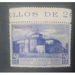 A) 1930, SPAIN, MONASTERY OF LA RABIDA, SPECIMEN, 20CTS, AIR MAIL EUROPE, NAVY BLUE, OVERPRINT