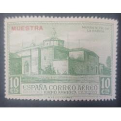 A) 1930, SPAIN, MONASTERY OF LA RABIDA, SPECIMEN, 10CTS, AIR MAIL EUROPE, GREEN, OVERPRINT