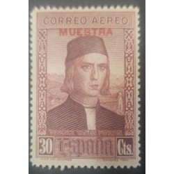 A) 1930, SPAIN, PINZON BROTHERS, VICENTE YAÑEZ PNZON, SPECIMEN, 30CTS, AIRMAIL, VIOLET BROWN, Scott C37v, MNH