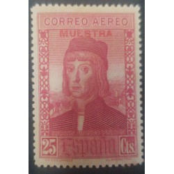 A) 1930, SPAIN, PINZON BROTHERS, MARTIN ALONSO PINZON, SPECIMEN, 25CTS, AIRMAIL, PURPLE PINK, MNH,